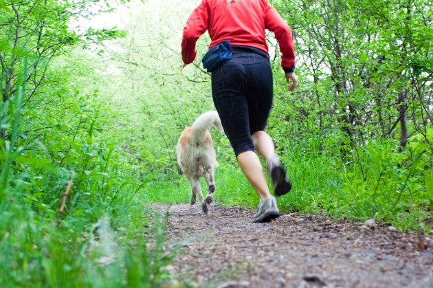 Running Woman With Dog