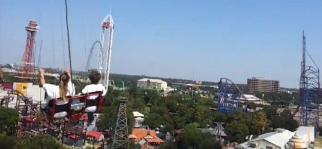 First time riders on the Texas Sky Screamer