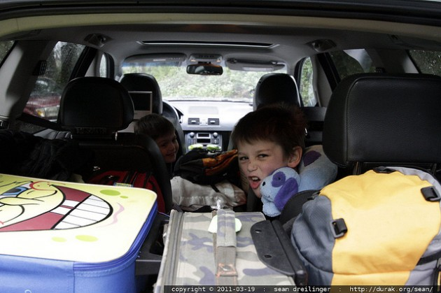 Kids geared up fro a road trip
