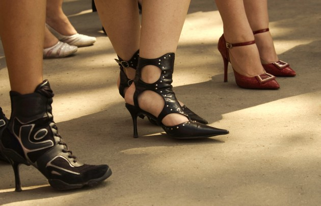 Various types of high heel shoes